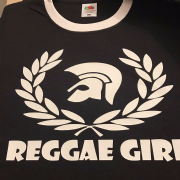 NEW REGGAE GIRL T-SHIRT BLACK WHITE TRIM